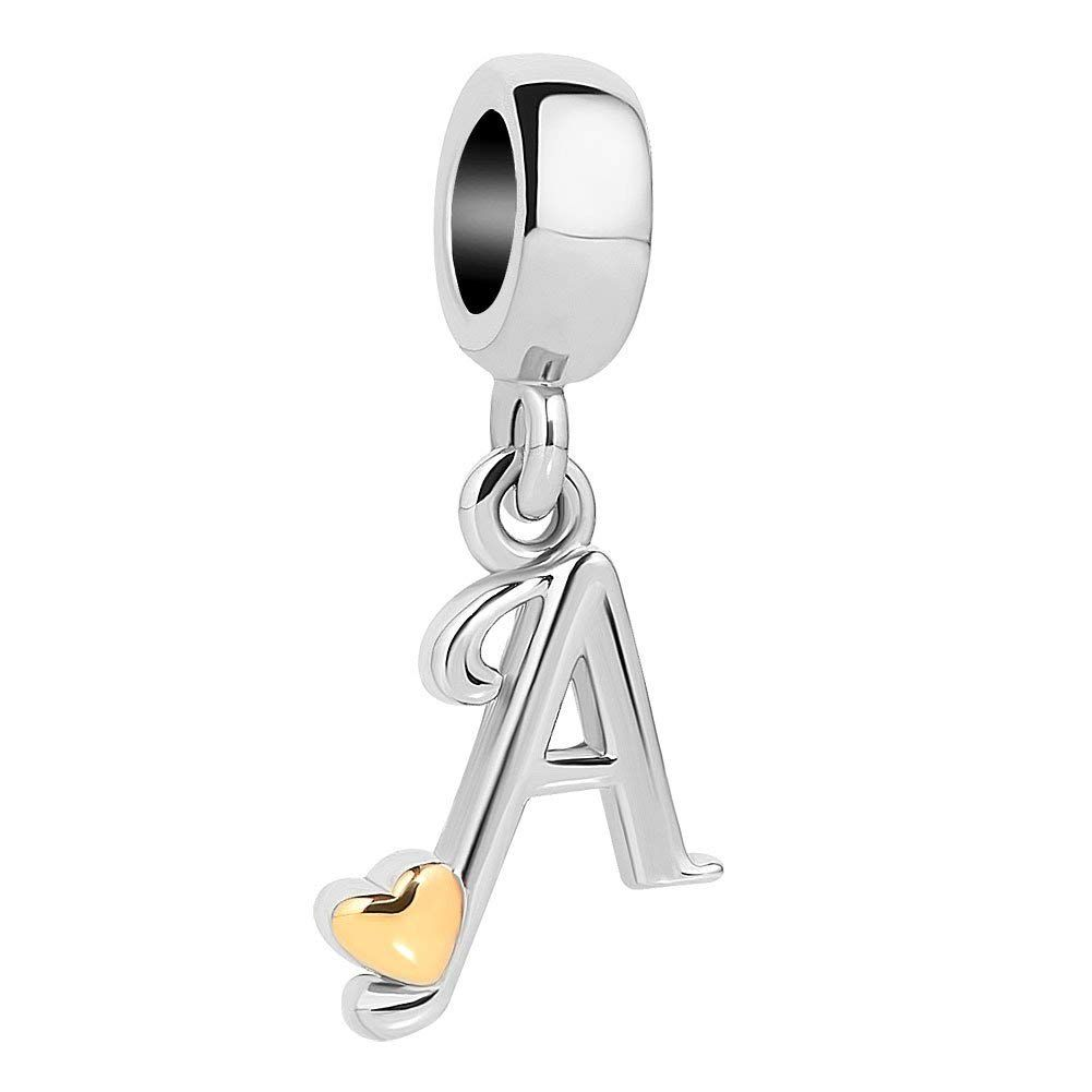 Letter A Letter Initial A-Z Charm Alphabet Dangle Charms Genuine 925 Sterling Silver Beads fits Woman Charms Bracelet