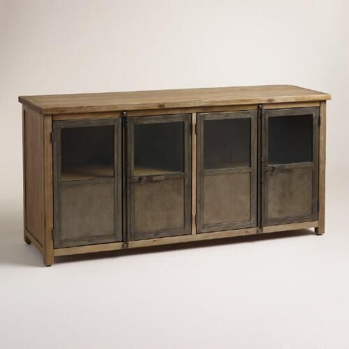 industrial media furniture. with glass paned metal doors a wood frame and latch closures inspired by cargo trucks our mixedmaterial cabinet exudes an industrial air media furniture