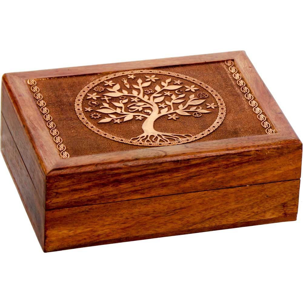 Laser Etched Tree of Life Wooden Box Velvet Lined 5x7 Fan