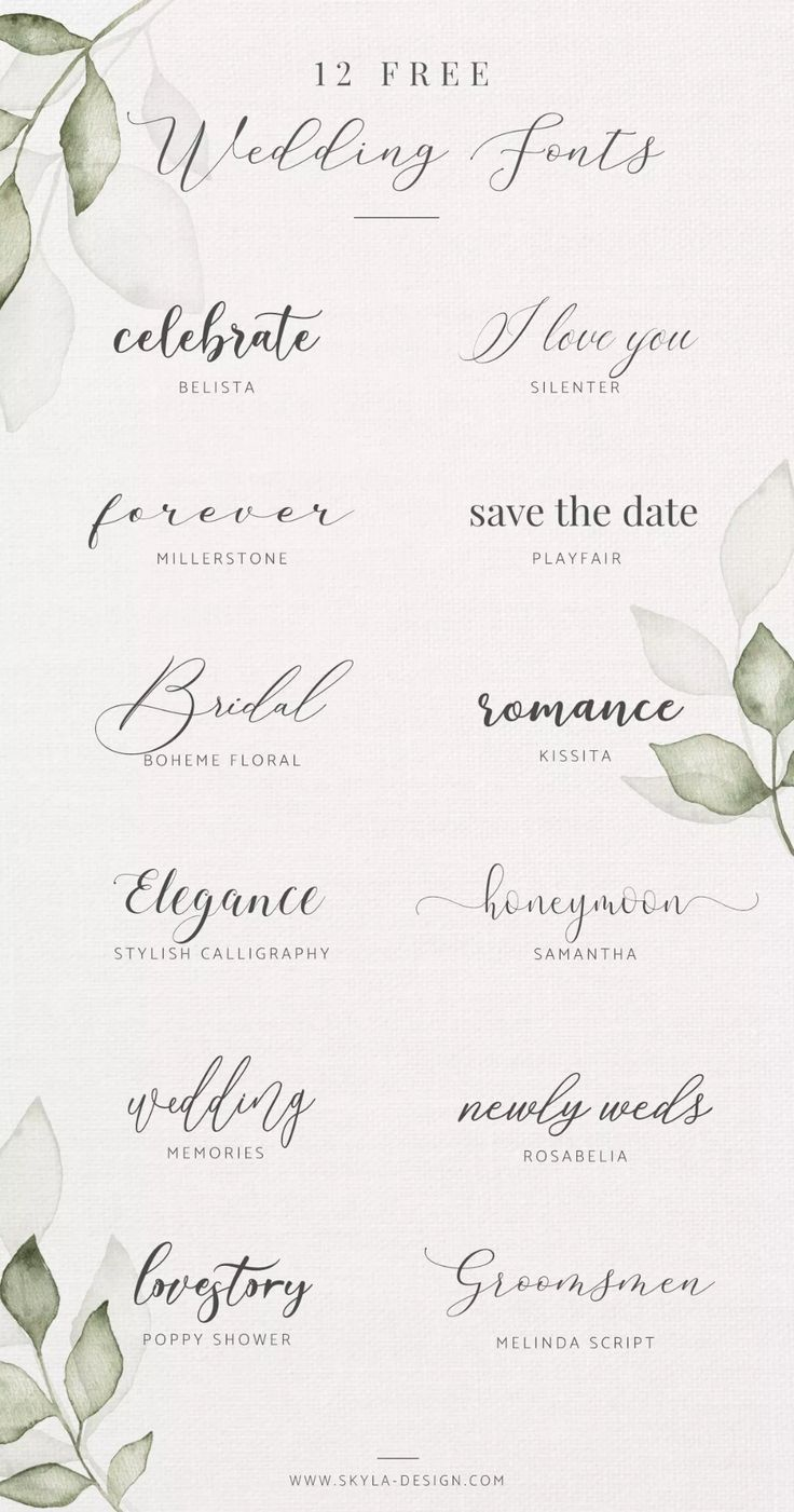 Free Wedding Fonts – Blog Post Skyla Design #romantic #wedding #free #fonts #script #modern #calligraphy #feminine