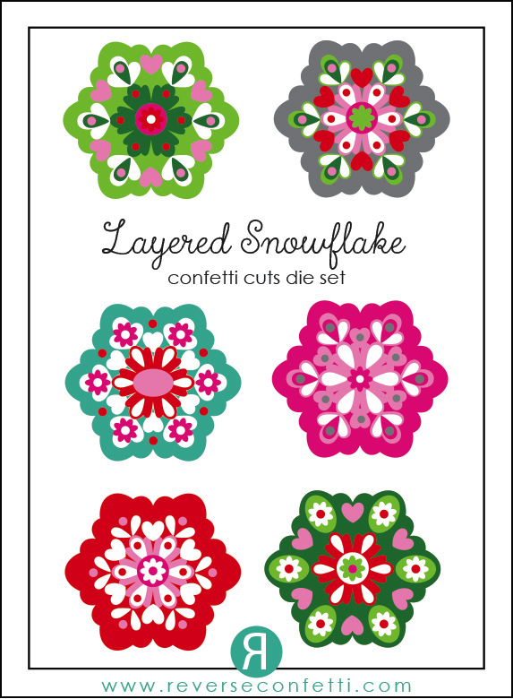 Reverse Confetti - Layered Snowflake Confetti Cuts examples. Oct 2015 Product release.