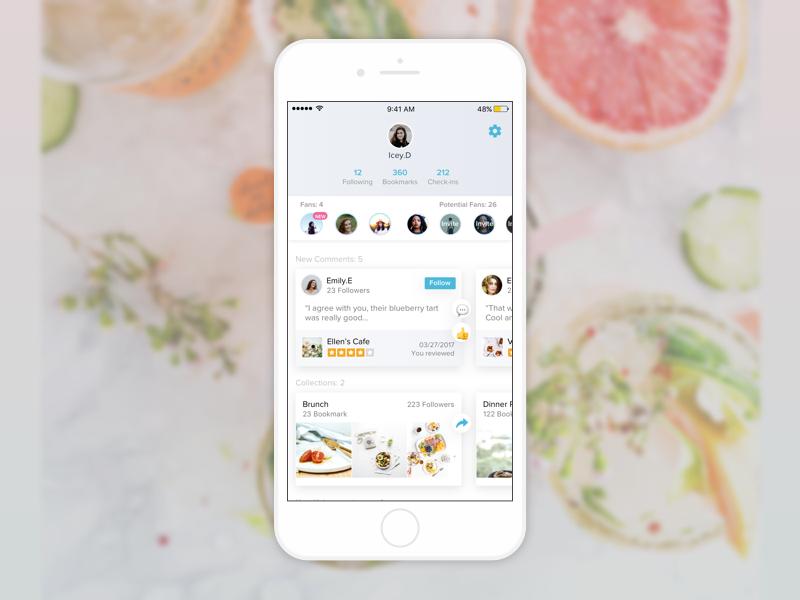 Yelp profile redesign App design, App, Profile