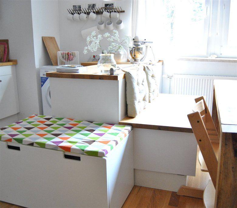 great way to brighten up a minimalist kitchen add a patterned stuva storage bench