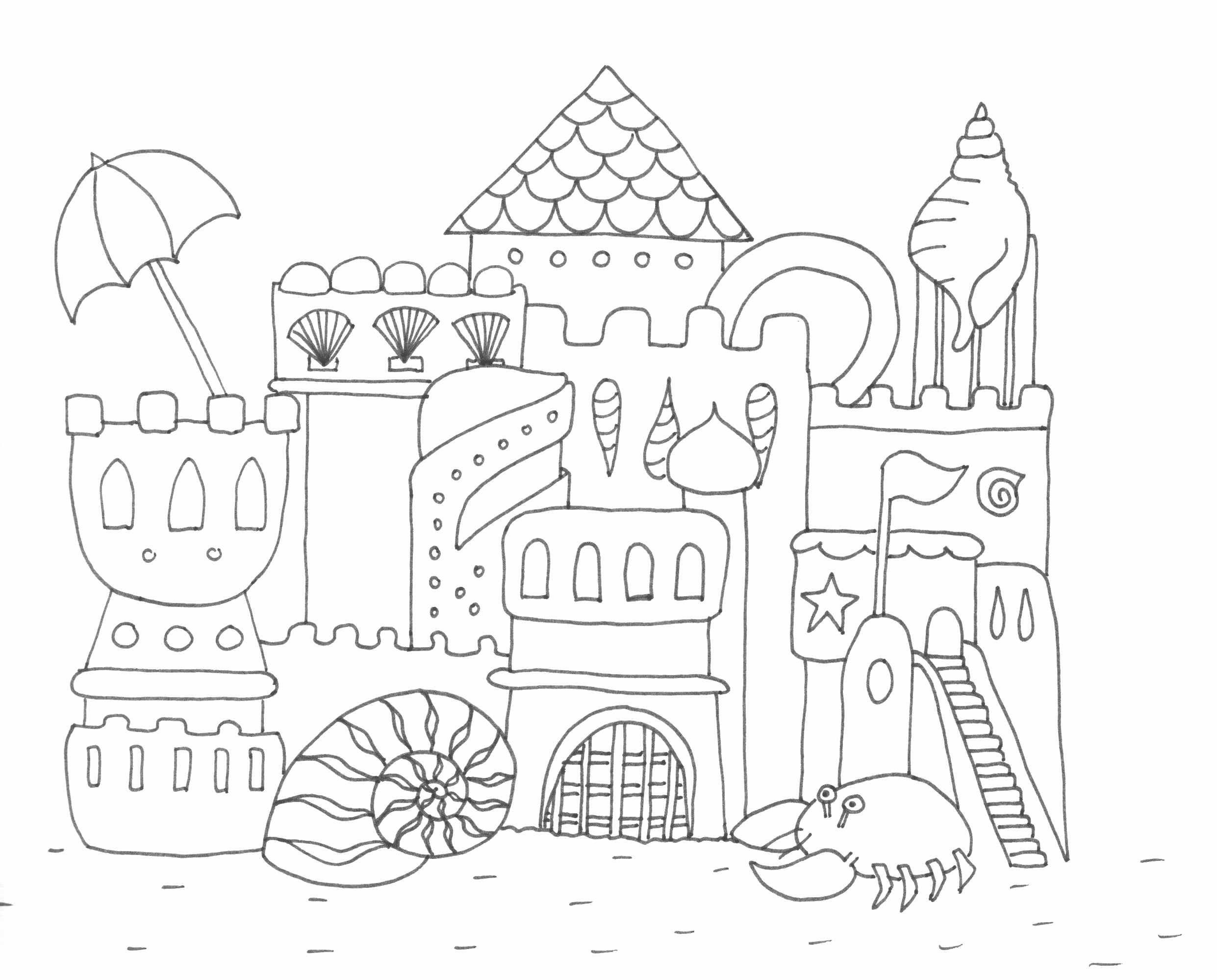 Homokvar Rajz Drawing Sandcastle Coloring Page Szinezo