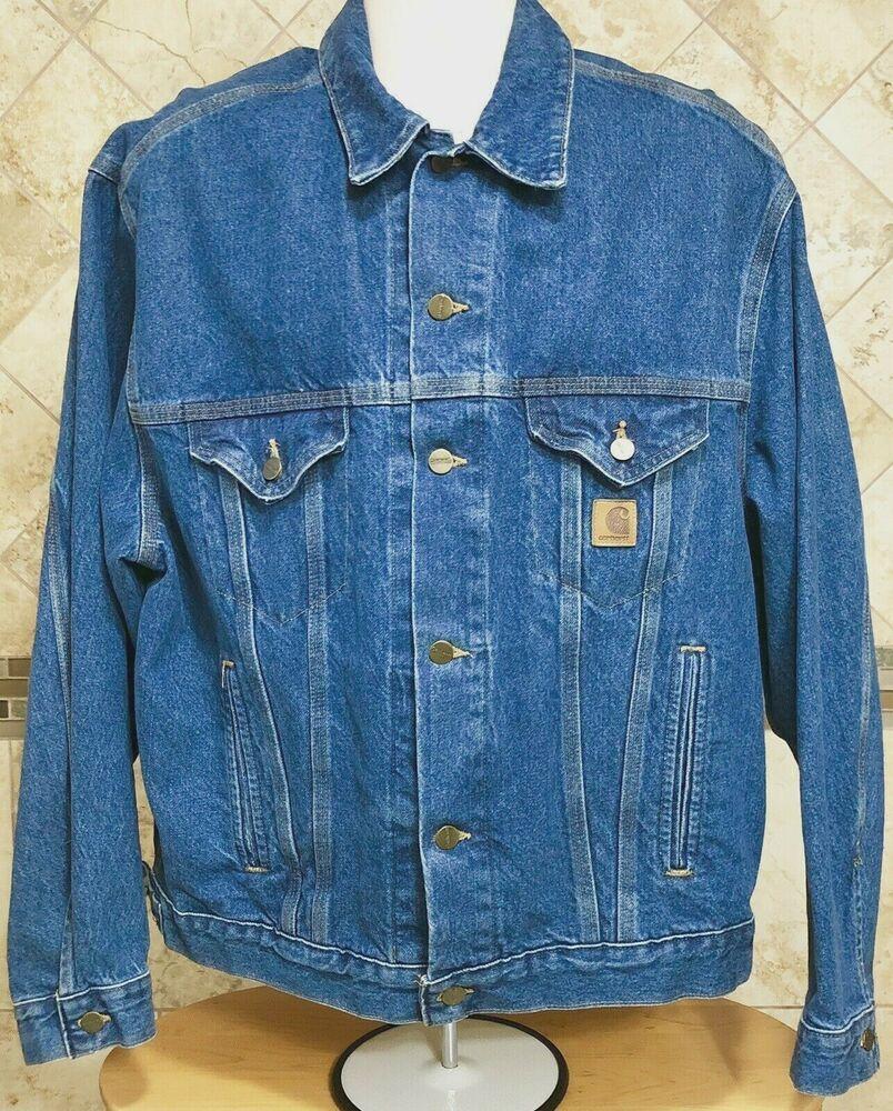 Carhartt Men S Trucker Denim Blue Jean Jacket Size L Unlined Made In The Usa Carhartt Jeanjacket Blue Jean Jacket Mens Carhartt T Shirt Jean Jacket Men [ 1000 x 804 Pixel ]