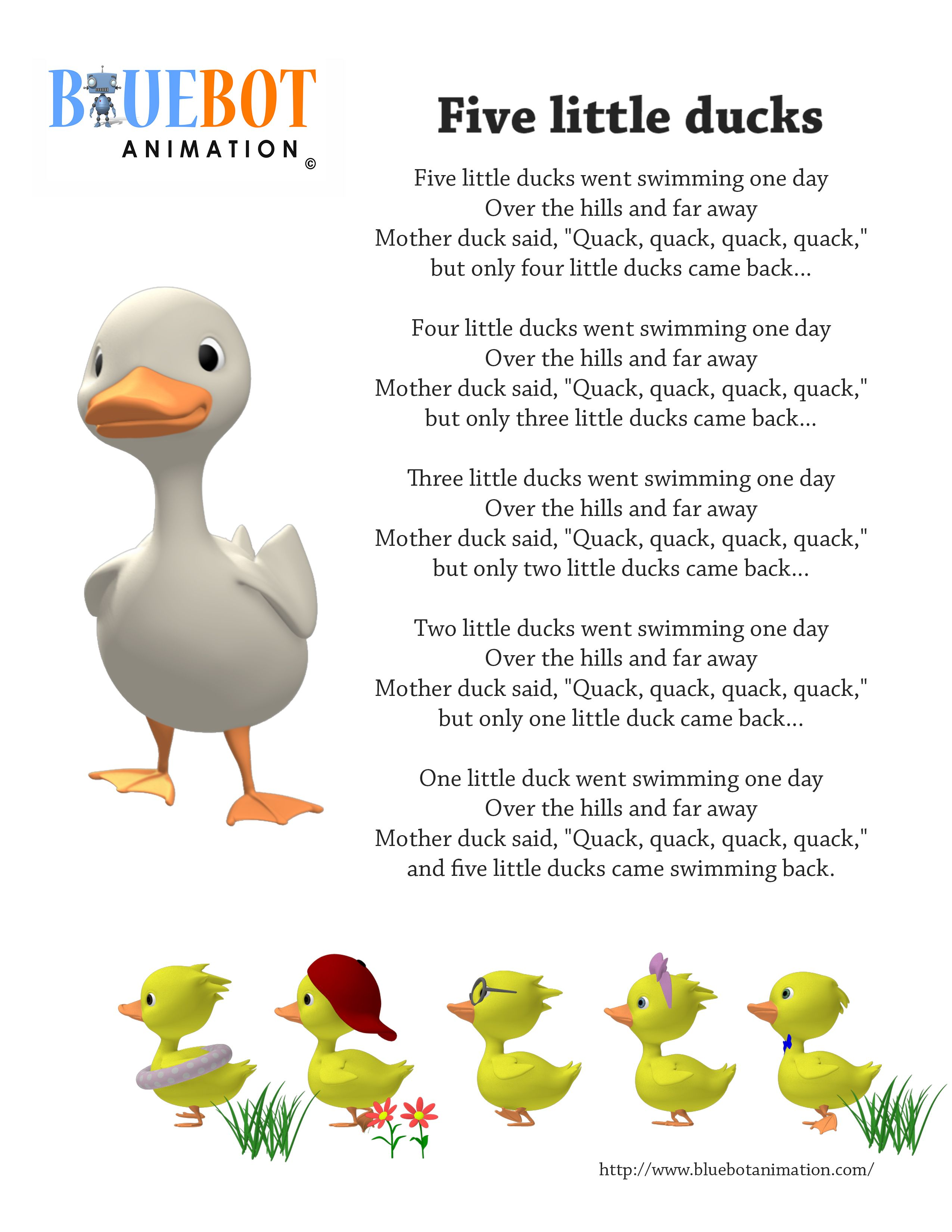 Five Little Ducks 5 Nursery Rhyme Lyrics Free Printable Page