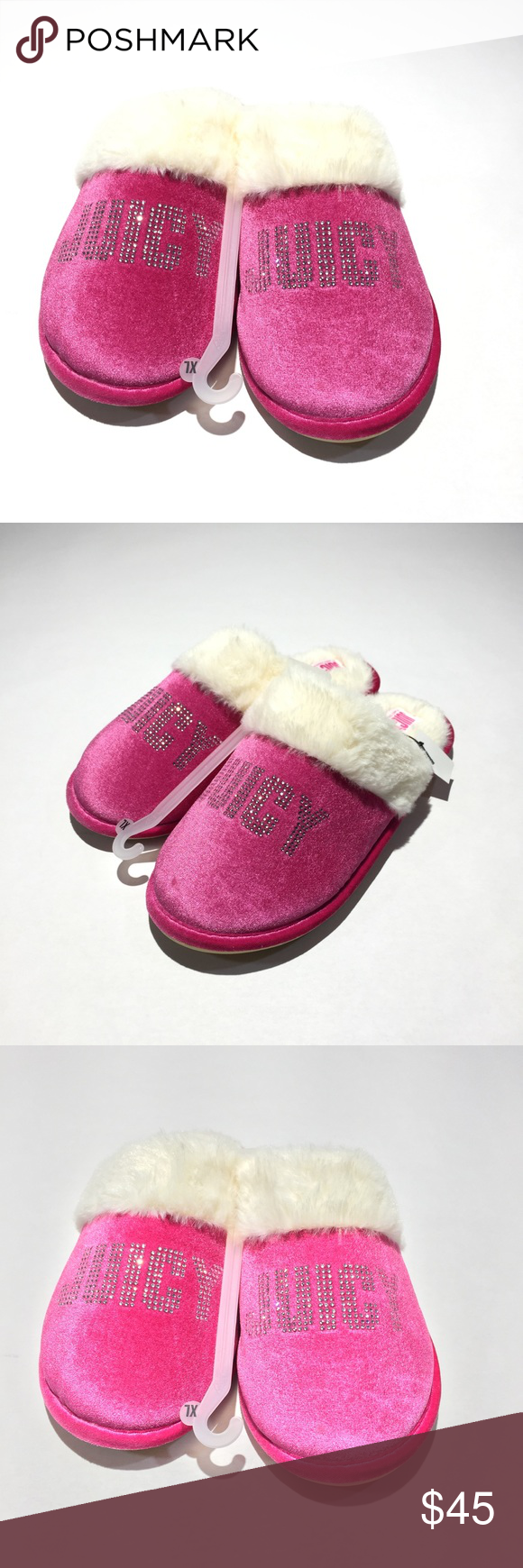 9359f1bc535 Juicy by Juicy Couture Gabi Crystal Slippers ☀ Sz XL   Sz 9 - 10 ☀ Faux  Shearling Lining ☀ Pink with Crystals ☀ Length - 11 in 📬 Ships next ...