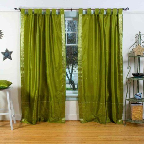 Indo Olive Green Tab Top Sari Sheer Curtain (43 in. x 84 in.) by Indian Selections. $28.83. Can accommodate curtain rods up to 3 inches in diameter. Sold per piece. Hand Dyed and Weaved on a handloom. Curtain measures 43 inches wide x 84 inches high. Top: 4 inche loop. Our Tab Top Panels and Curtains give a great look that also showcases your drapery hardware rod selection. Whether combined with wooden window treatments such as wood blinds or window shades, these pa...