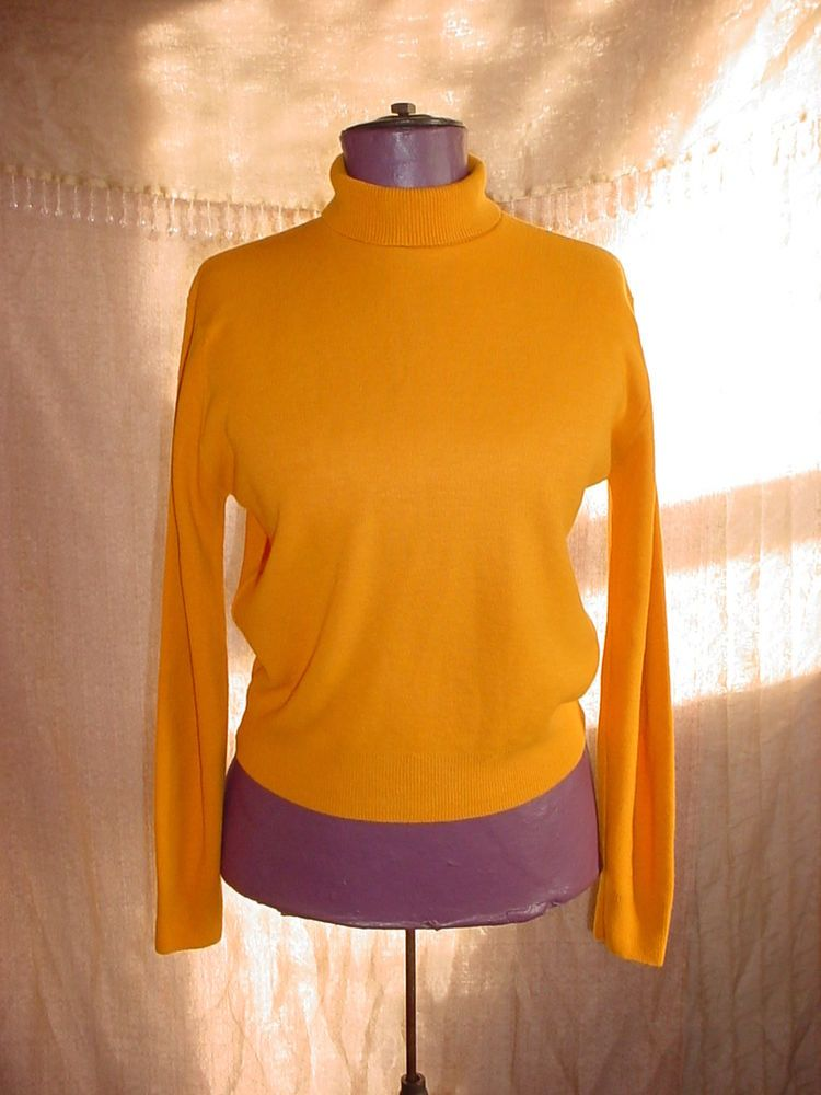 Vintage Orange Pullover Sweater size 36 Fold-down Turtle Neck NEW with Tag!