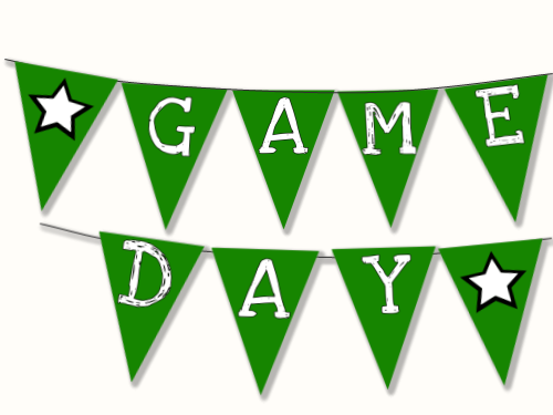 Game Day Clipart Printable Banner Straw Flags Football Games