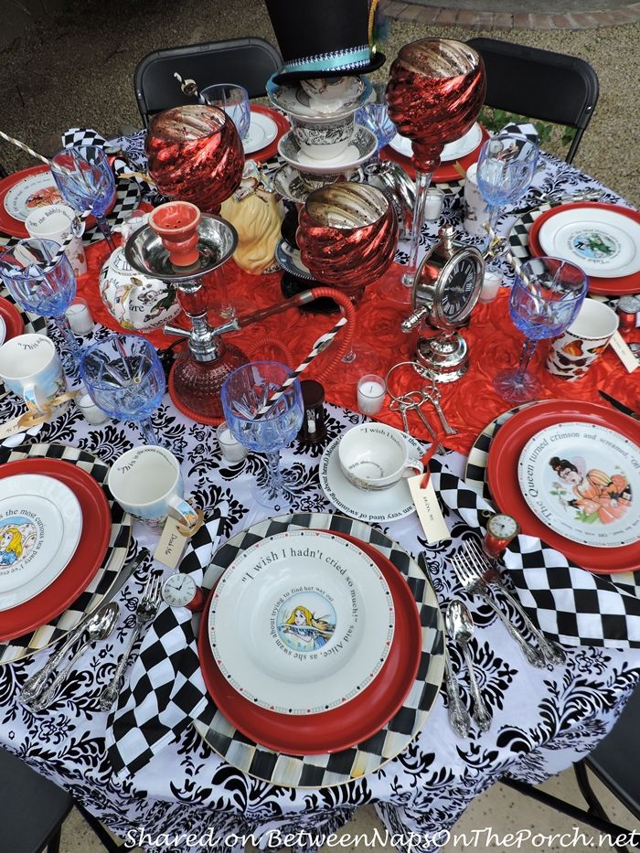 Alice in Wonderland Table Setting with Checkered