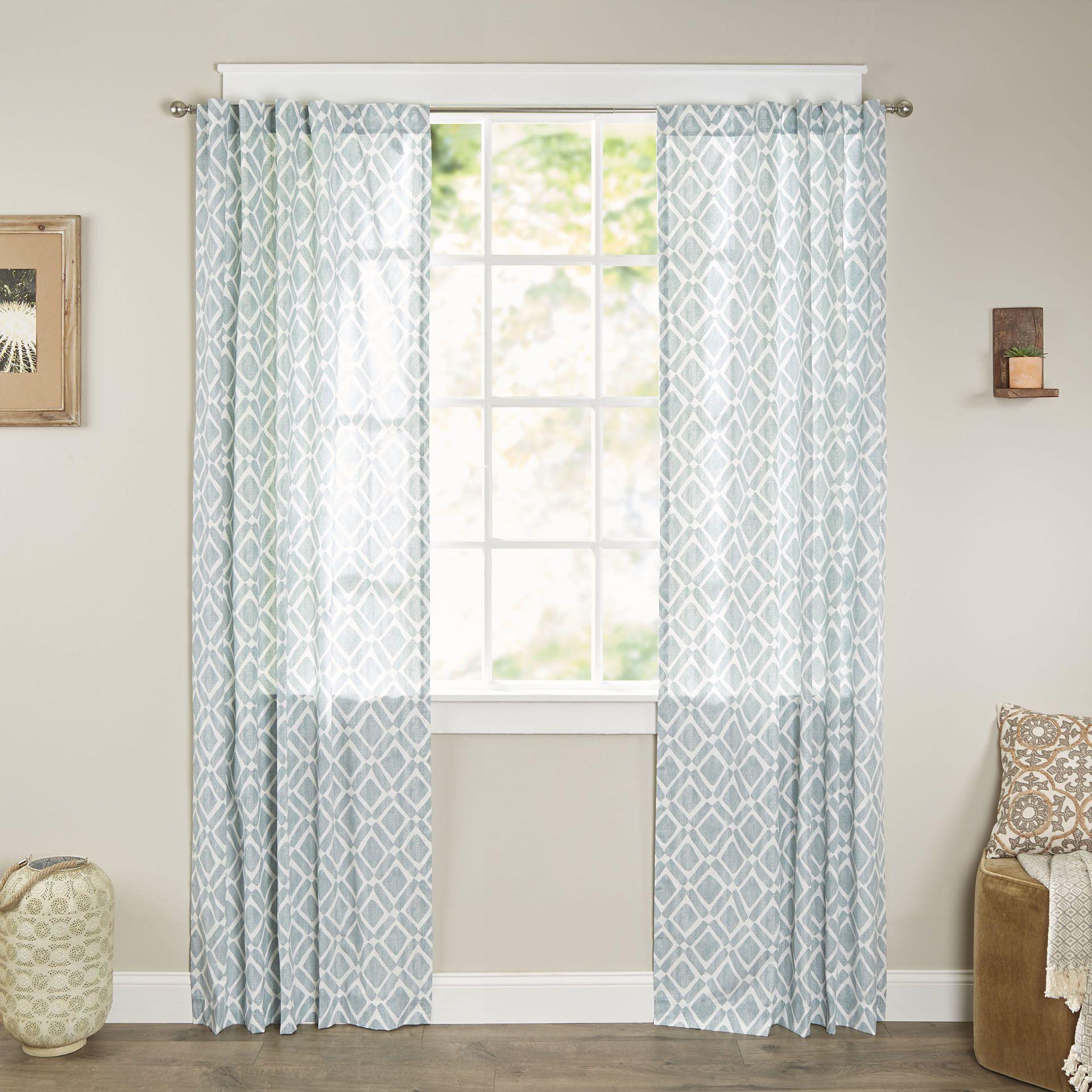 Jessica Geometric Print Rod Pocket Single Curtain Panel Curtains