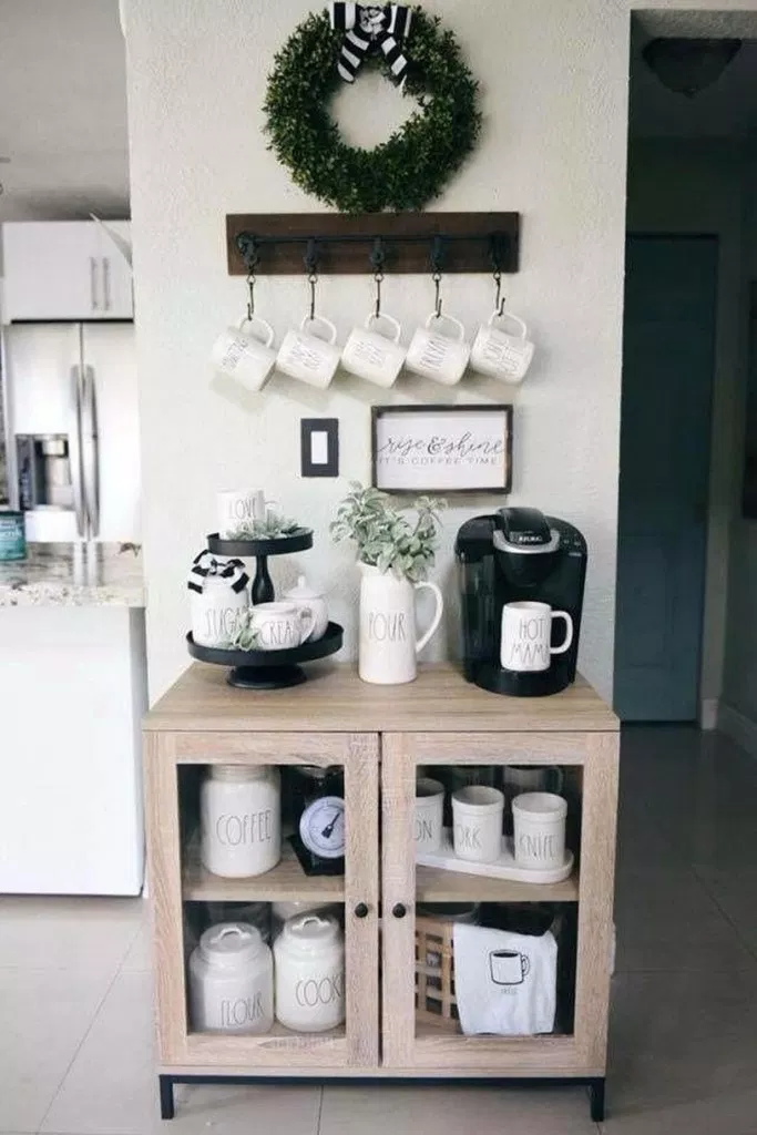 Pin By Samantha Skuza On Kitchen Remodel In 2020 Coffee Bar Home Home Coffee Stations Decor