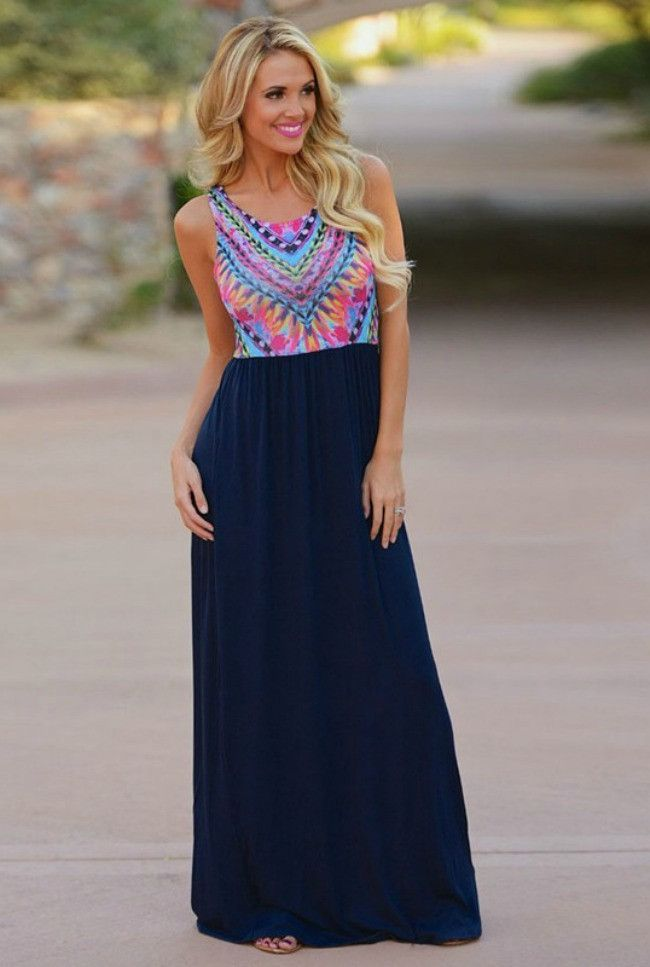 47031ebd4a5 You ll be the life of the party anywhere you go in this beautiful maxi!  Featuring a sleeveless retro print top with a chiffon bottom.