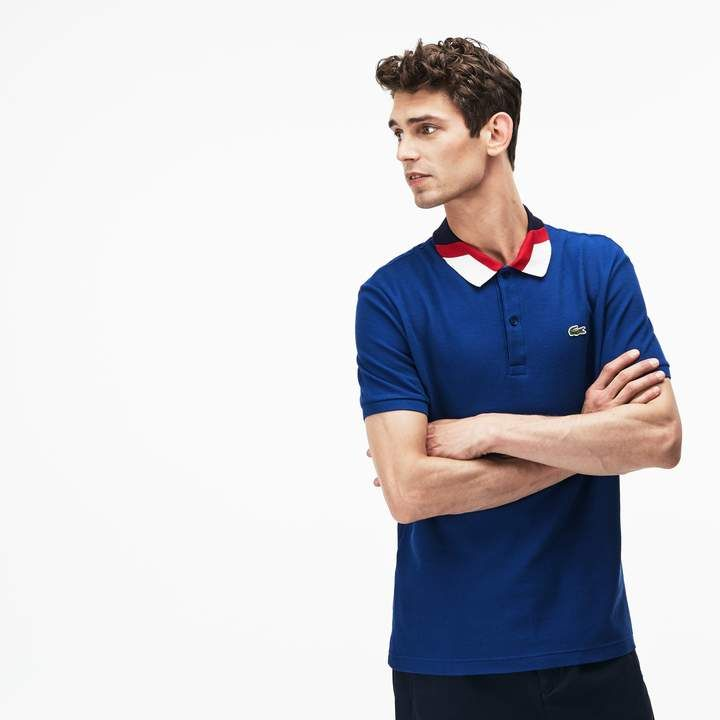 5bcb6659ef 2019 的 Men's Lacoste Slim Fit Colourblock Striped Knop Piqué Polo ...
