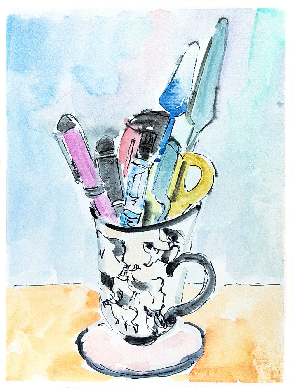 Watercolour Still Life Coffee Mug Painting Stationery In Tea Mug