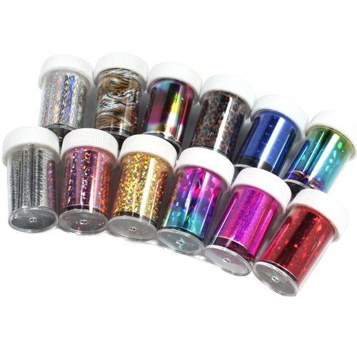 12 Colors Bottle Nail Art Transfer Foil Stickers Tips Beauty Diy