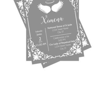 Baptism or Christening Invitation Angel Theme Invitacion de