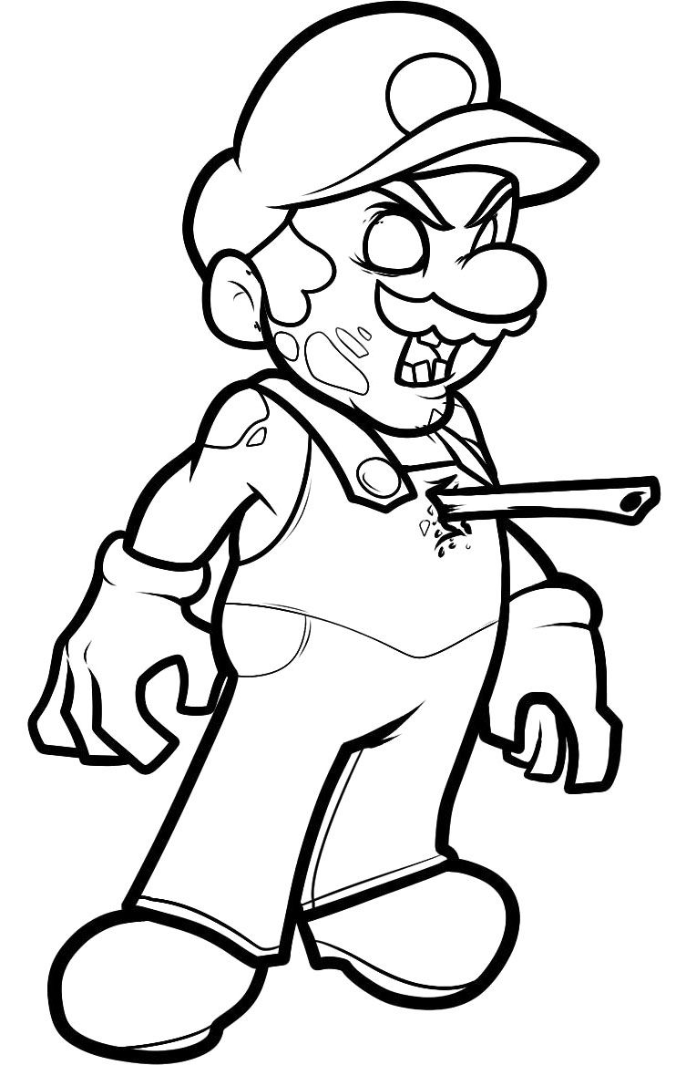 Paper mario coloring pages to print - Zombie Mario Coloring Page