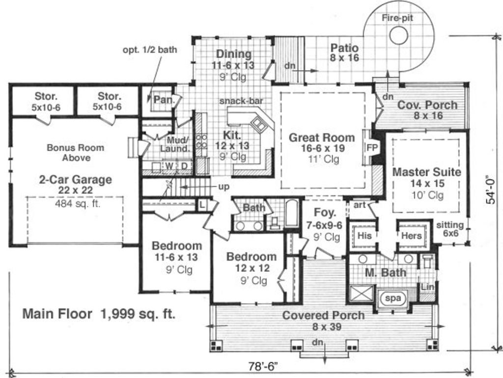 Craftsman Style House Plan - 3 Beds 2.50 Baths 1999 Sq/Ft Plan #51-550 Floor Plan - Main Floor Plan - Houseplans.com