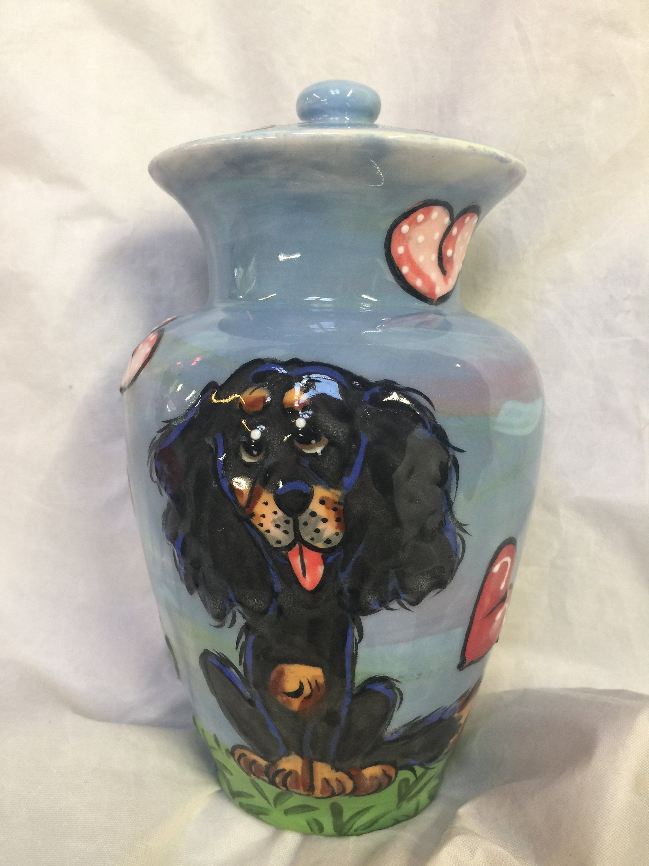Dog Urn Hand Painted Pet Urn Pet Cremains Pet Memorial Ceramic Urn Dog Final Resting Home Debby Carman Faux Paw Productions Hand Painted Pet Pet Urns Dog Urns
