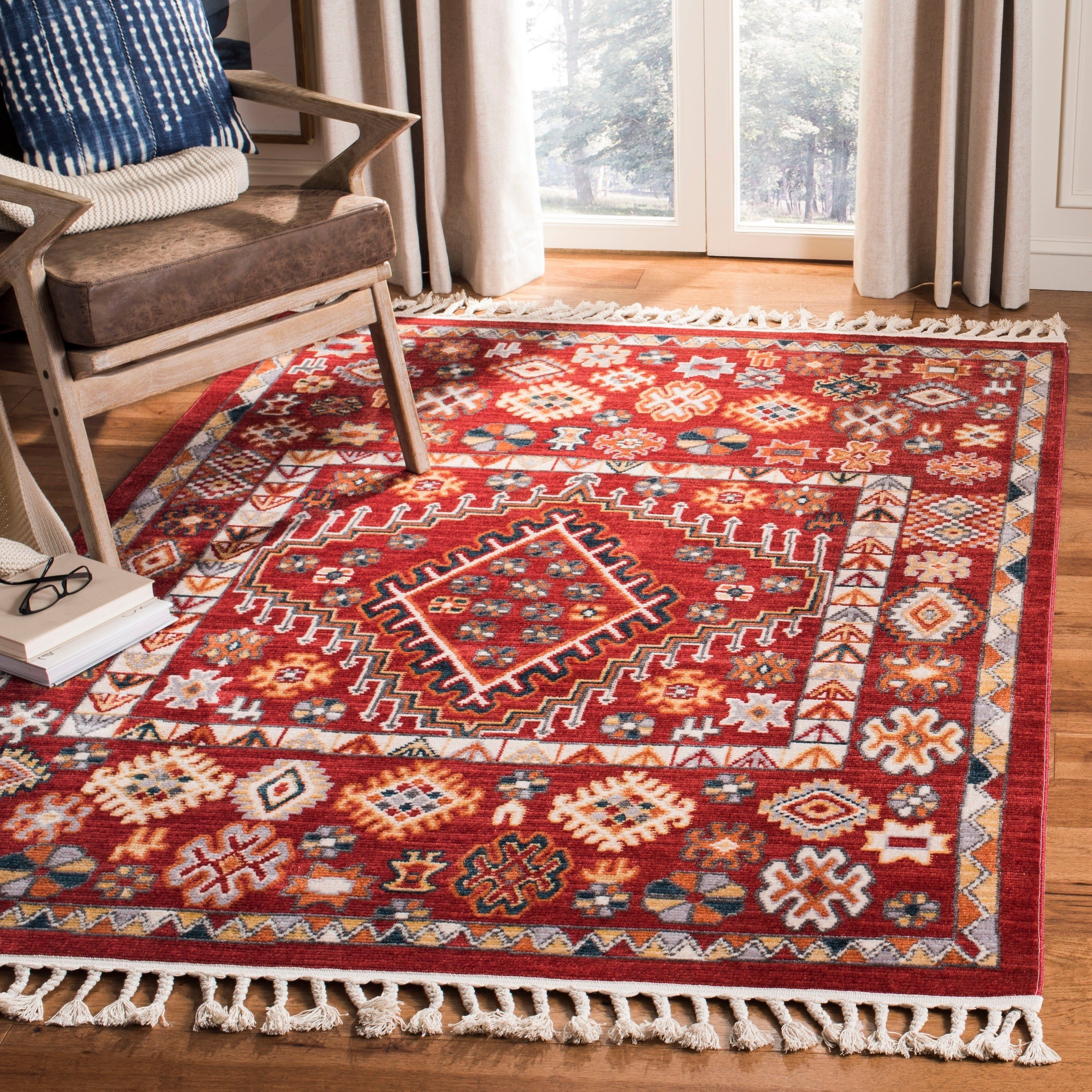 Safavieh Farmhouse Bohemian Eclectic Red Ivory Polyester Tassel Area Rug 9 X 12 Polyester Rugs Red Area Rug Area Rugs