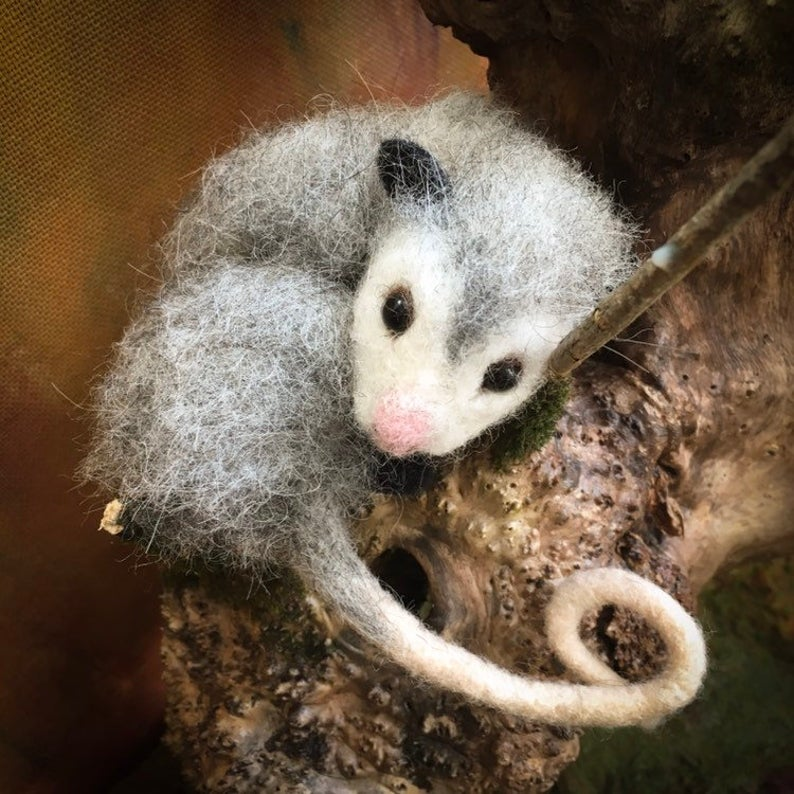 Cute felted possum is perfect mother day gift. Australian animal, Possum gift #feltedwoolcrafts