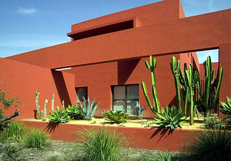 Mexican Architecture With Burnt Sienna Washed Walls