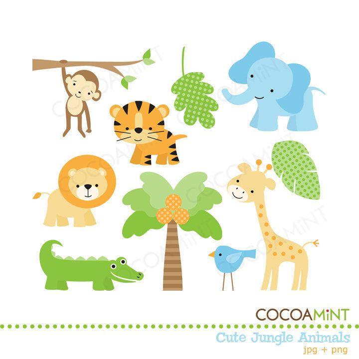 Cute Jungle Animals Clip Art By Cocoamint On Etsy Baby Jungle Animals Jungle Animals Baby Shower Animal Clipart Free