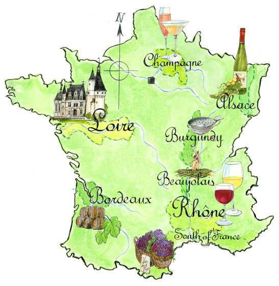 Jane Webster Wine Map Of France France Drawing Illustrated Map