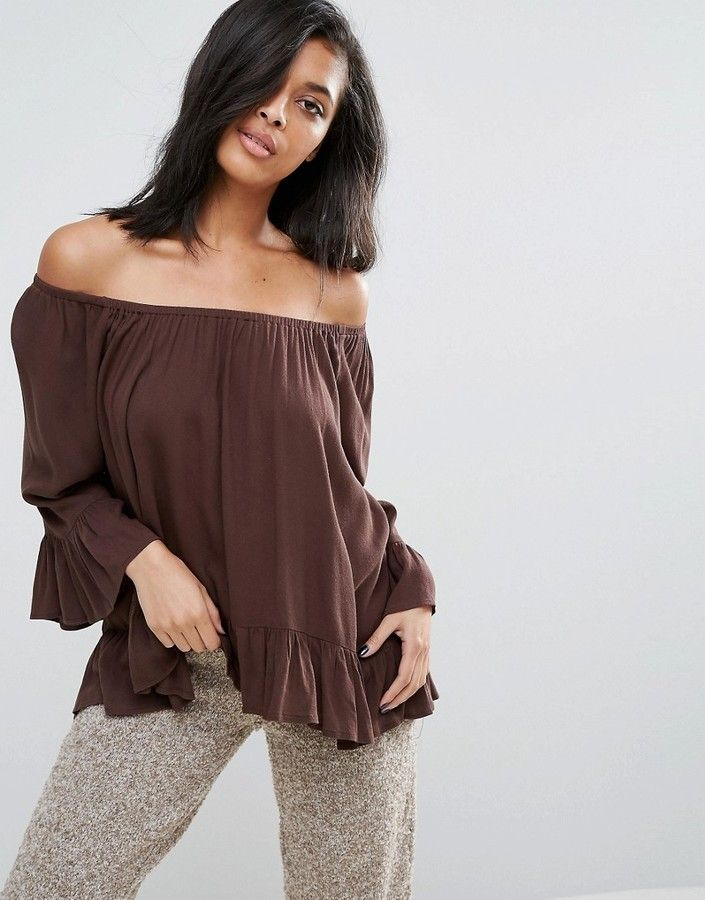 009a45f93e13 Minimum Off The Shoulder Floaty Bardot Top