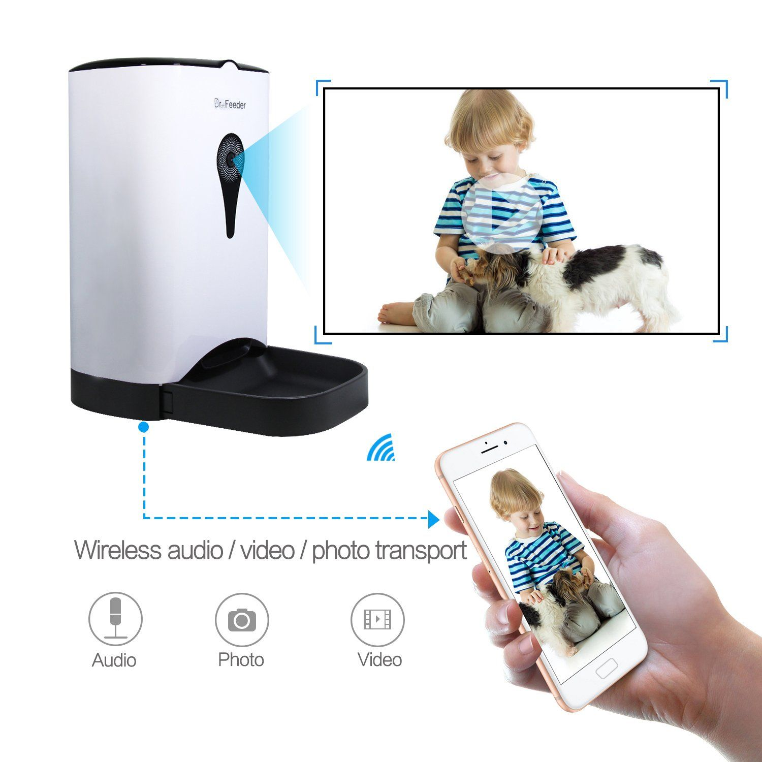food dog speaker with control smartphone pet wifi portion interactive webcam light auto dp remote dispenser cat feeder automatic night