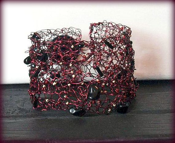 Burgundy Beauty Wire Crochet Cuff with by DesignsbyNatureGems, $80.00