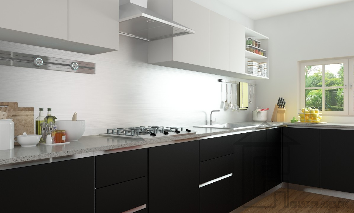 Open And Spacious Kitchen Design In Black And White Colour Inspiration L Shaped Kitchen Design India Inspiration Design