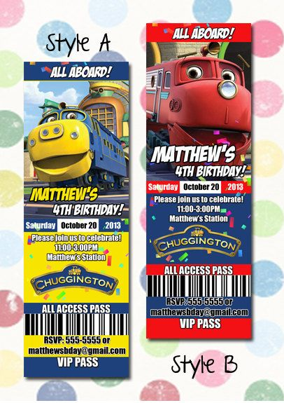 Chuggington Birthday Party Invitation Ticket Style You Print – Chuggington Party Invitations
