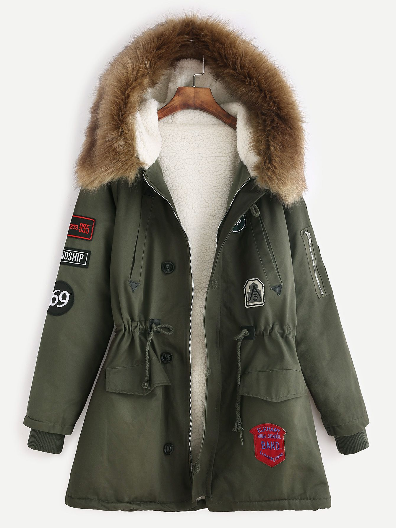 db0cc327f62d85 Army Green Patches Drawstring Hooded Faux Fur Trim Parka | Things I ...
