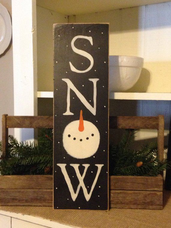 Snowman Sign Winter Sign Snow Sign Primitive Sign Rustic