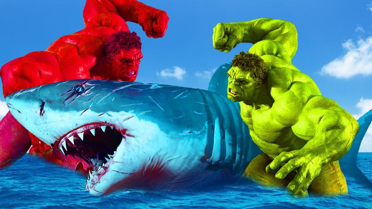 hulk vs shark fighting shark attacks hulk and red hulk war epic