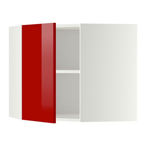 METOD Corner wall cabinet with shelves, white, Ringhult red Width ...