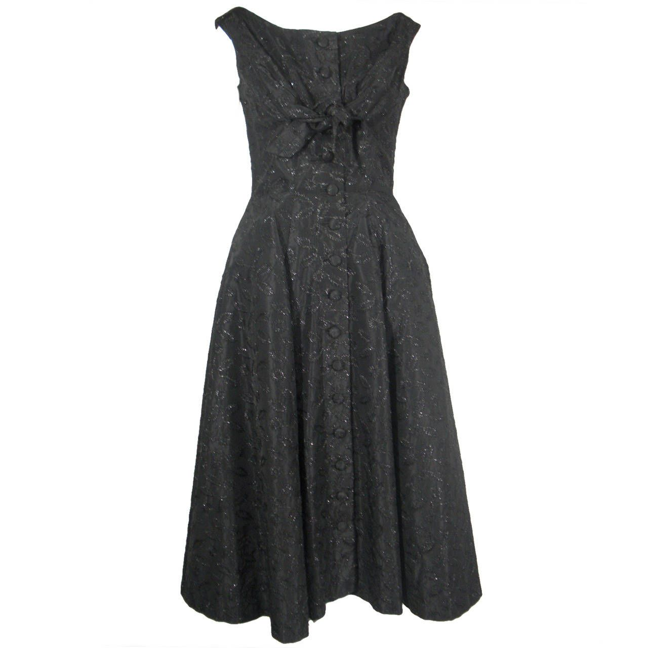 1950s Suzy Perette Black Button Front Dress With Embroidered Flowers Evening Dresses Vintage Vintage Black Cocktail Dress Black Cocktail Dress [ 1280 x 1280 Pixel ]
