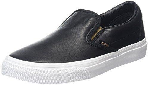 ba32ae3a67233c Vans Womens Classic Slip-On Metallic Gore Black White Lea... https ...