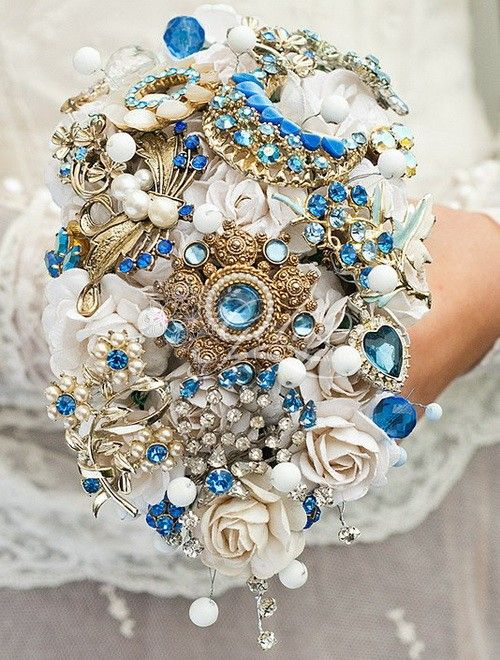 Little Blue Sparkler Wedding Brooch Bouquet Brooches And Flowers That S What I M Doin
