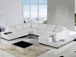 Modern Sleek And Beautiful White Leather Sectional White Leather Sofas White Sofa Design White Living Room Decor