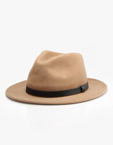 a06127fc5cc Brixton Messer Fedora Hat - Tan Black - RouteOne.co.uk