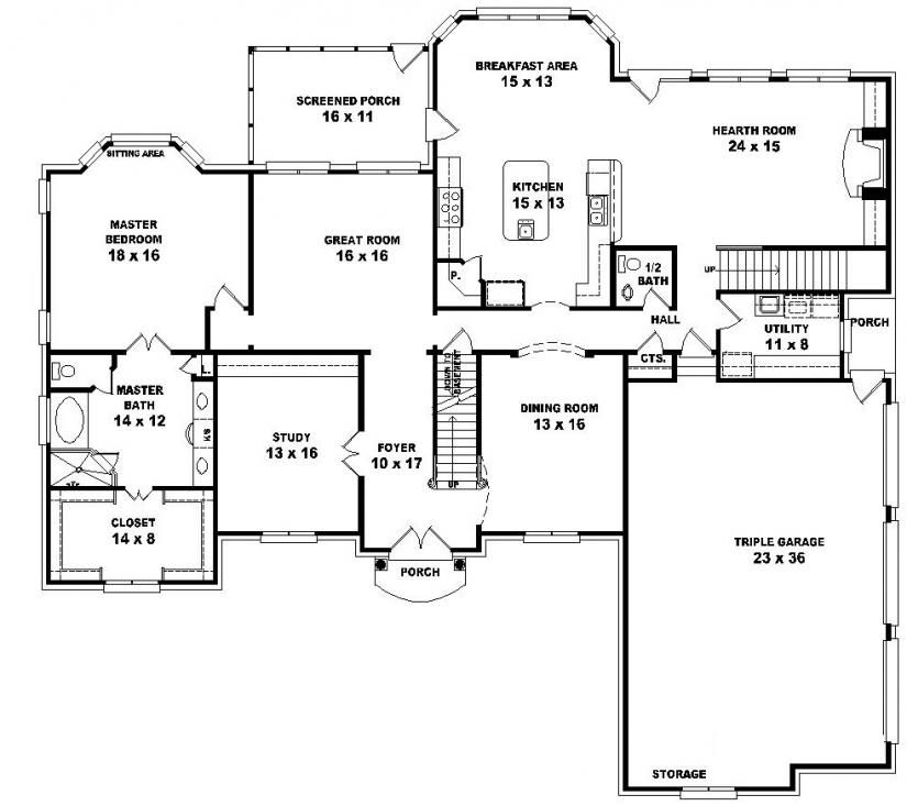 5 bedroom house floor plans.  654043 Two story 5 bedroom 4 bath french traditional style house plan