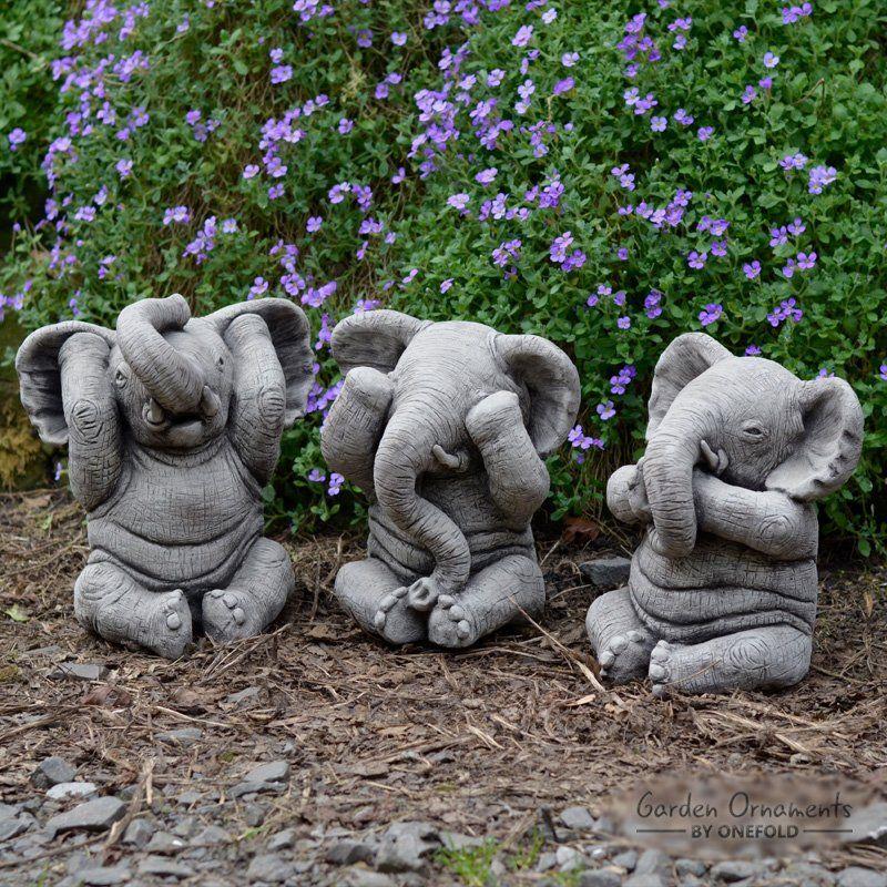 Burrill 3 Piece Wise Elephant Stone Garden Statue Set 640 x 480