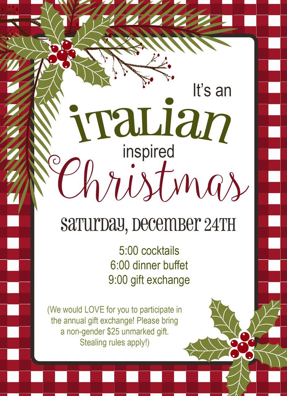italian dinner holiday invitation Christmas invitations