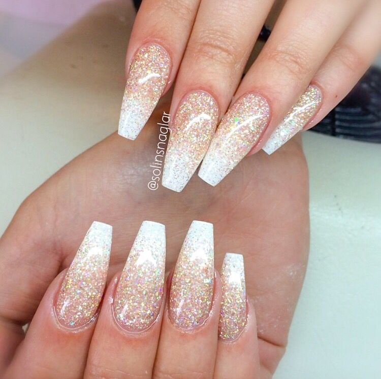 White And Gold Coffin Nails Love Ombre Nails Glitter Gold Nails Prom Nails