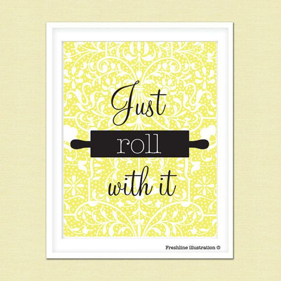 Kitchen Wall Art Funny Kitchen Art Quote Just Roll By