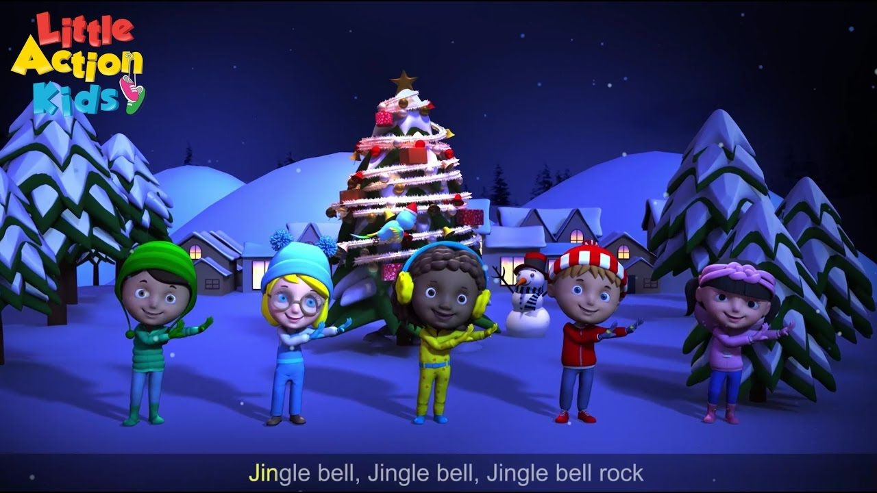Jingle Bell Rock With Sing Along Lyrics A Favorite And Popular Christmas Song Loved By All S Christmas Songs For Kids Popular Christmas Songs Christmas Dance